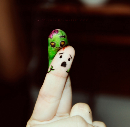Ah,zombies! Eating my...finger...